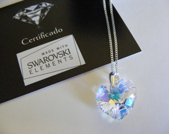 Silver necklace with Swarovski heart crystal heart, silver necklage 20 inc,50 cm chain,wedding,girlfriend, gift mom,