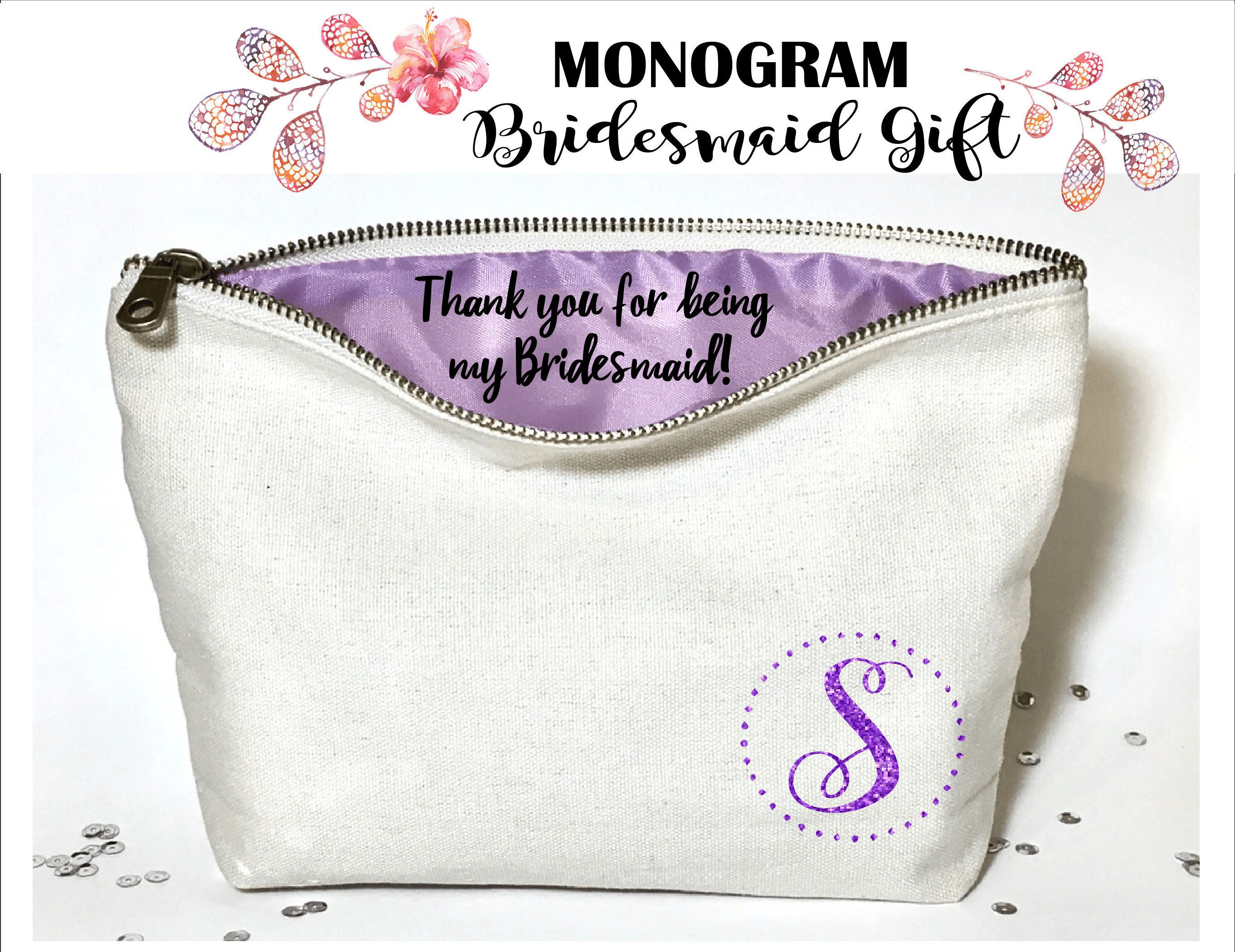 Monogram Personalized Bridesmaid makeup bag- Canvas cosmetic bag ...