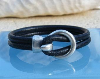 Black Leather Unisex Bracelet