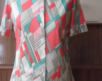 "1970s St Michael geometric short sleeved blouse 36"" Bust size 12"
