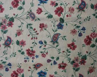 Vintage Cotton Quilting Fabric Ikat Print Fabric Vintage Floral Fabric Quilting Fabric - 1 1/4 Yard - CFL1038