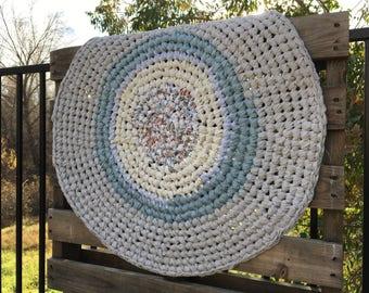 "Handmade Round Rag Rug 28"" wide"