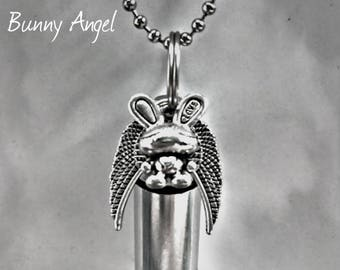 """Adorable Silver Cremation Urn & Vial with Bunny Rabbit Angel Pendant on 24"""" Ball Chain Necklace with Velvet Pouch and Fill Kit"""