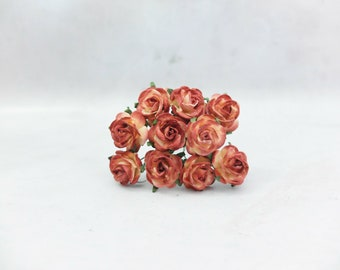 10 20mm mahogany brown tip mulberry paper roses - 2 cm cream paper roses - floral craft supplies