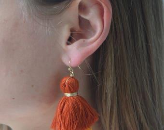 Orange Ombre Layered Thread Tassel Earrings