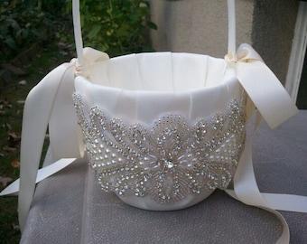 Wedding Flower Basket, Flower Girl Basket, Rhinestone/Pearl Flower Basket  - Style BK1008