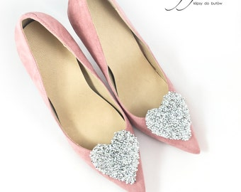 Crystal Heart  Shoe Clips Bridal Wedding Shoe Accessories Mififi Shoe Clips