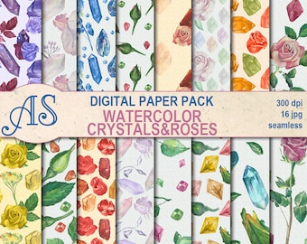 Digital Watercolor Crystals and Roses Seamless Paper Pack, 16 printable Digital Scrapbooking papers, gems Collage, Instant Download, set 337