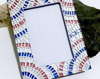 JUL 4TH PATRIOTIC Home Decor, Red White Blue Mosaic Frame, Hostess Gift , Decorative Frame, Boys Room Decor, Picture Frame