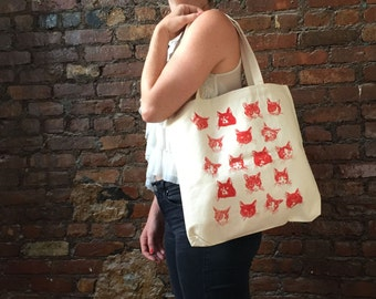 Cat Tote Bag - OUR HAIRY FRIENDS - Natural Cotton x Red Cat Illustration Hand Screen Printed