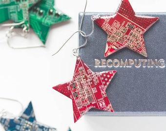 Circuit board star earrings, cool unusual earrings, recycled, techie, steampunk