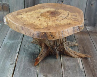 "Large Rustic Cake Stand with tree stump root base, Reclaimed Tree Stump, appx 19""x15""x2"" top, 10"" tall, Texas Pecan, reclaimed wood stump"