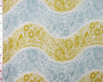 "Fabric 1 Yard  LITTLE FOLKS VOILE Village Path Sea 54/55"" Wide  Anna Maria Horner Floral Waves Quilting Sewing"