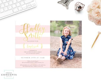 Girl's LDS Baptism Invitation with Photo | Striped Blush Pink and Gold LDS Baptism Announcement | Digital Printable