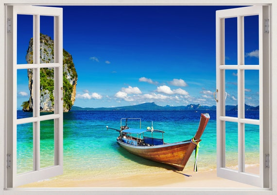 Tropical Beach Wall Sticker 3d Window Boat Wall Decal For
