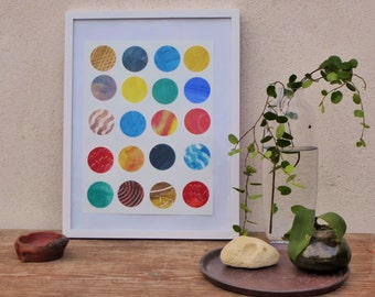 5 feng shui elements, abstarct modern painting,single piece,collage, circles, geometrical pattern