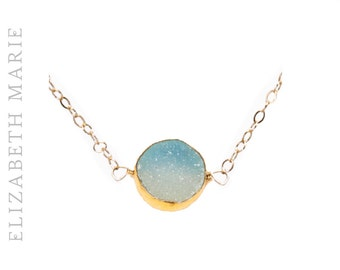 Blue Druzy Necklace, Chalcedony Delicate Gold-Rimmed Gemstone Round Drop Necklace, Druzy Pendant Necklace, Chalcedony Pendant, 14k Gold Fill