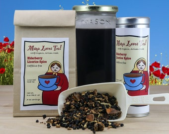Elderberry Licorice Spice Herb Tea Blend in a Bag or Tin, 100% Organic, Loose-Leaf Blend, Immune Support