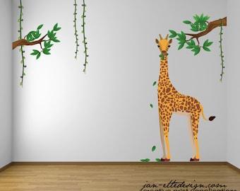 Kids Jungle Wall Decals,Giraffe Wall Decal,Jungle Theme Nursery Decor