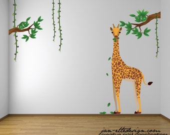 Kids Jungle Wall Decals,Giraffe Wall Decal,Jungle Theme Nursery Decor