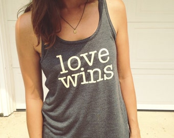 Love Wins - flowy tank - cream vinyl design