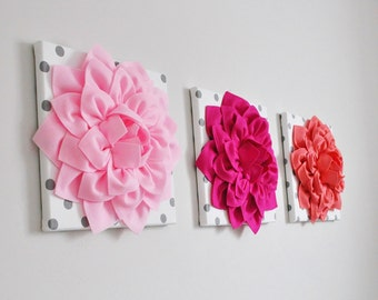 """Custom Girl Nursery - Choose Your Color Wall Decor - Shades of Pink Dahlias on Polka Dot 12 x 12"""" Canvases Light Pink, Hot Pink, Light Coral"""