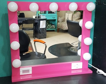 PINK 32 X 28, Hollywood Style Lighted Vanity Makeup Mirror