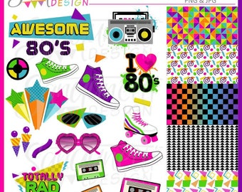 80s Clipart, eighties clipart, retro clipart, PNG, JPG, 80s digital art, instant download