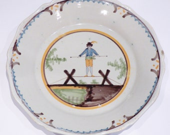 NEVERS, Burgundy, 19th century plate the tightrope walker