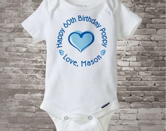 Happy Birthday Poppy Shirt or Onesie with Blue Heart Personalized with Granddad's Age 11102015f