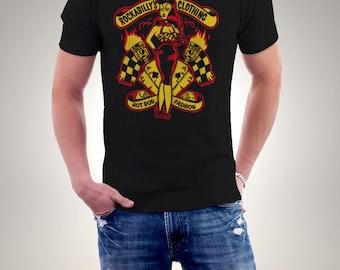 New Rockabilly Hot Rod Fashion Pin Up Black Men T-shirt