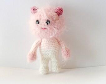 Pink Cat amigurumi crochet, crocheted toy, gift, wool toy,plush doll