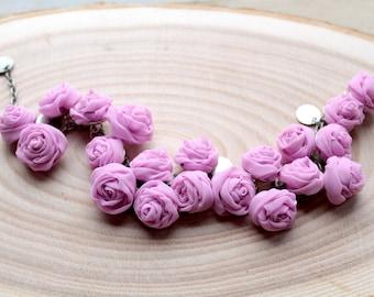 Fabric bracelet Pink-lilac rose bracelet  Fabric jewelry Flower bracelet Floral jewelry Clusters bracelet Textile bracelet