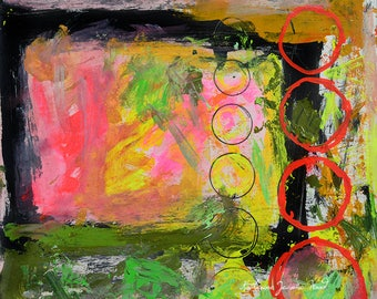 Bold Colorful Abstract Painting Print. Red Circles Abstract Digital Print. Apartment Gift. Small to Large Prints.