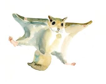 FLYING SQUIRREL  10x8inch print-Children's Decor-Art for Children-kids wall art-Nursery art -Animal lover