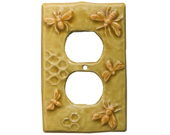Ceramic Honeybees Duplex Outlet Cover in apricot gold glaze