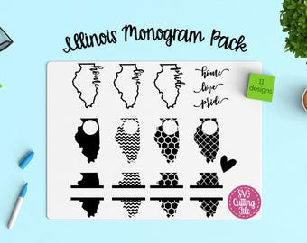 11 Illinois SVG - Illinois State SVG - Illinois Monogram Frames - Illinois Pride - Illinois Love