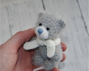 Amigurumi bear Crochet toy Easter Miniature bear Grey bear Toy funny animal Soft plush bear Fluffy bear Tiny cute bear