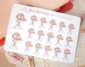 Kawaii Girl running a marathon, runner, doing workout, Decorative Stickers ~Valerie~ For your Life Planner, Diary, Journal, Scrapbook...
