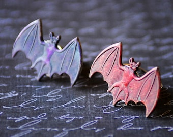 Silver Bat Ring, Unisex Goth Ring, Bat Jewelry, Silver Ring, Batman, Purple Bat Ring, Red Bat Ring, Patina Ring, SRAJD, Hand colored Patina