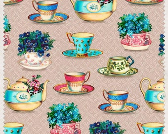 teacup fabric, cup and saucer fabric, tea time fabric, tea party fabric, quilting fabric, teapot fabric, cotton fabric, fabric by the metre