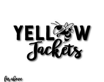 Yellow Jackets with Bee Team Spirit SVG, EPS, dxf, png, jpg digital cut file for Silhouette or Cricut