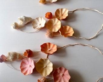 Paper Flower Necklace, Statement Necklace, Cascade Necklace, Papier Mache Bib Necklace, Modern Anniversary Gift, Boho  style