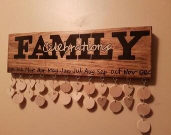 Family Celebration / Birthday Anniversary Reminder Board sign / celebration calendar / birthday board / gift for mom / family celebrations