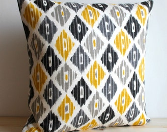 Yellow and Grey Ikat Pillow Cover, 14x14, Ikat Cushion - Ikat Diamond Sunshine