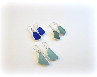 Sea glass earrings. Sea glass drop earrings. Maine Jewelry. Sea glass jewelry. Beach glass. Bezel sea glass earrings. Seaglass earrings