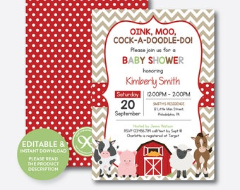 Instant Download, Editable Farm Baby Shower Invitation, Red Barnyard Baby  Shower Invitation, Farm