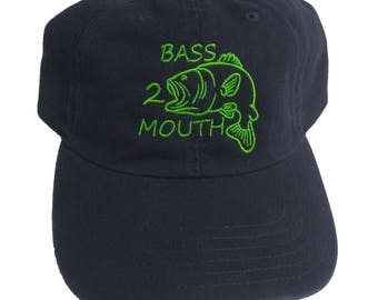 Bass 2 Mouth Funny Embroidered Fishing Navy Blue Dad Hat/Cap