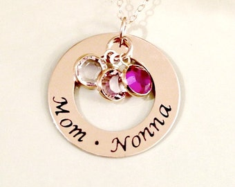 Gold Filled Hand Stamped Mommy, Grandmother, Nana Necklace - Personalized Custom Jewelry - Gold Filled, Swarovski Crystals Mother's Day Gif