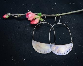 Medium brass and silver half moon earrings